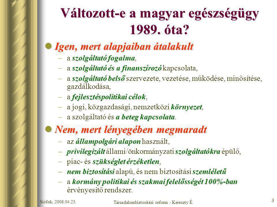 Siófok, 2008.04.23. Társadalombiztosítási reform - Kereszty É. 3 Változott-e a magyar egészségügy 1989. óta? Igen, mert alapjaiban átalakult Igen, mer