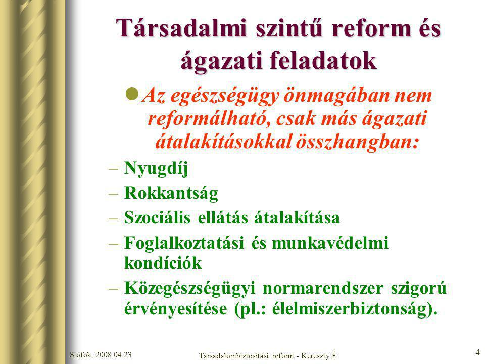 Siófok, 2008.04.23. Társadalombiztosítási reform - Kereszty É. 4 Társadalmi szintű reform és ágazati feladatok Az egészségügy önmagában nem reformálha
