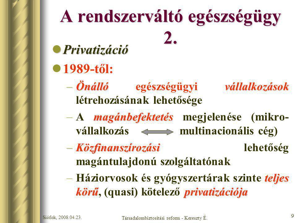 Siófok, 2008.04.23. Társadalombiztosítási reform - Kereszty É. 9 A rendszerváltó egészségügy 2. Privatizáció Privatizáció 1989-től: –Önállóvállalkozás