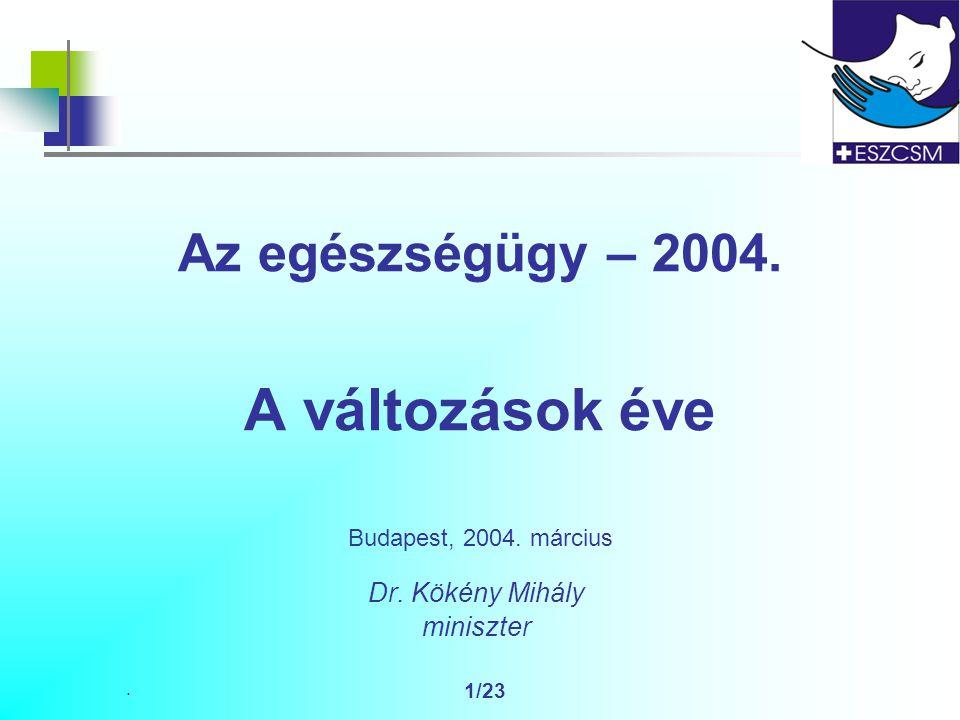 . 1/23 Az egészségügy – 2004. A változások éve Budapest, 2004. március Dr. Kökény Mihály miniszter