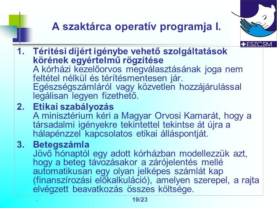 19/23 A szaktárca operatív programja I.