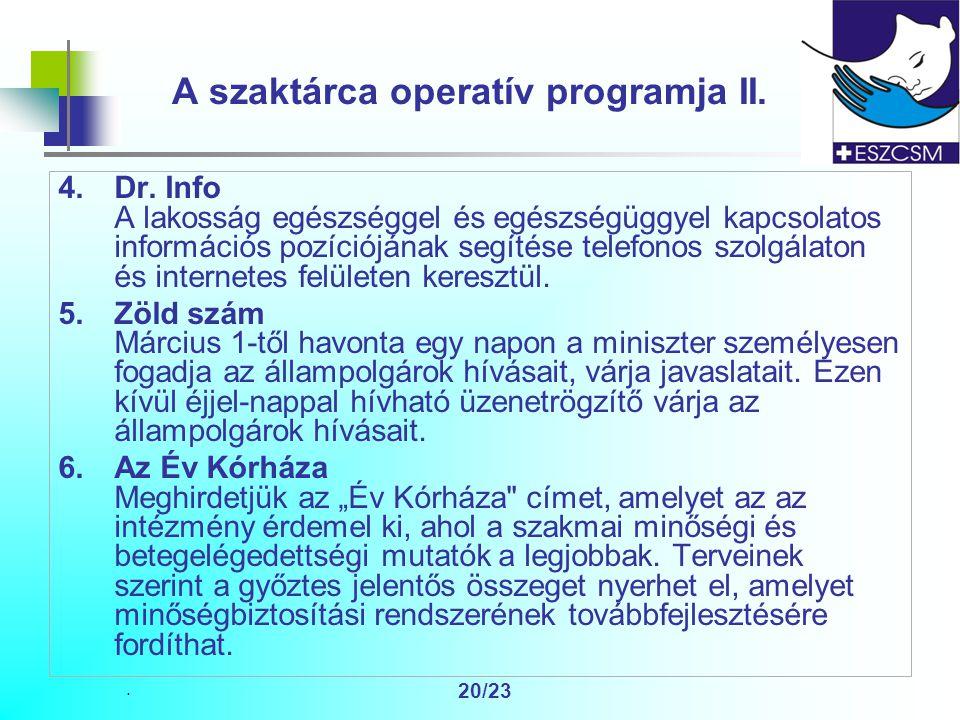 20/23 A szaktárca operatív programja II. 4.Dr.
