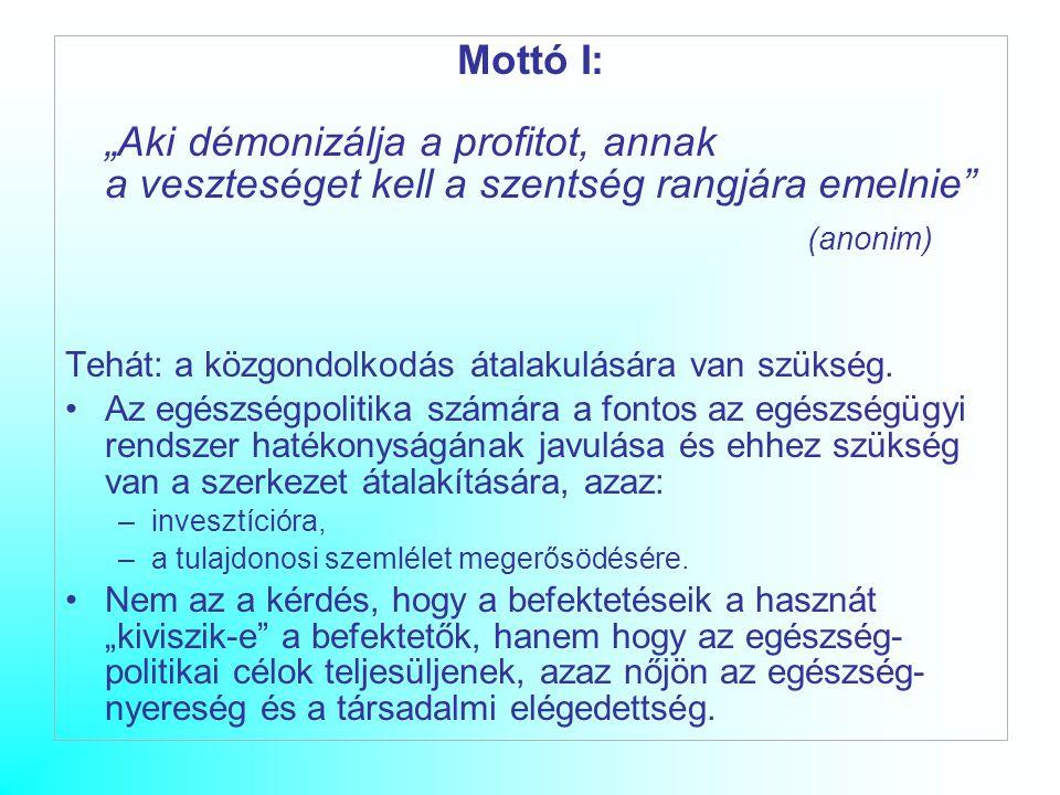 """Mottó I: """"Aki démonizálja a profitot, annak a veszteséget kell a szentség rangjára emelnie (anonim) Tehát: a közgondolkodás átalakulására van szükség."""