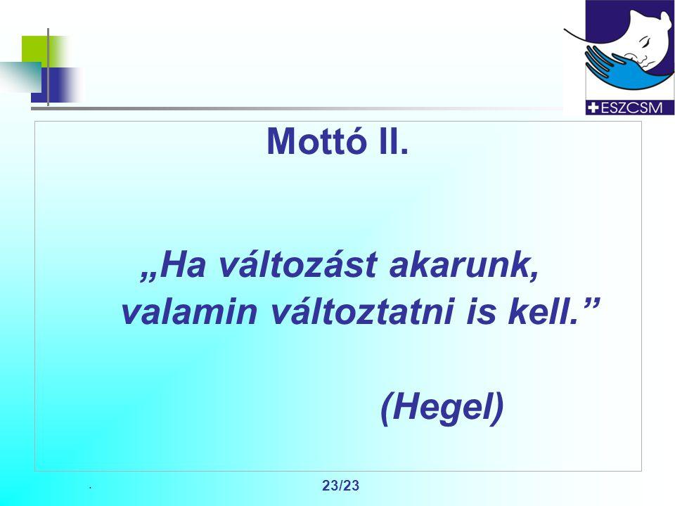 """. 23/23 Mottó II. """"Ha változást akarunk, valamin változtatni is kell. (Hegel)"""