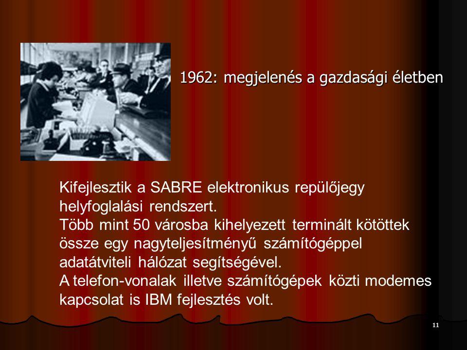 11 1962: megjelenés a gazdasági életben Kifejlesztik a SABRE elektronikus repülőjegy helyfoglalási rendszert.