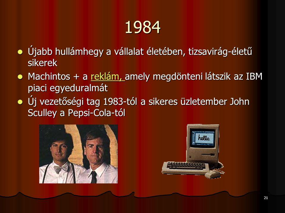 21 1984 Újabb hullámhegy a vállalat életében, tizsavirág-életű sikerek Újabb hullámhegy a vállalat életében, tizsavirág-életű sikerek Machintos + a re