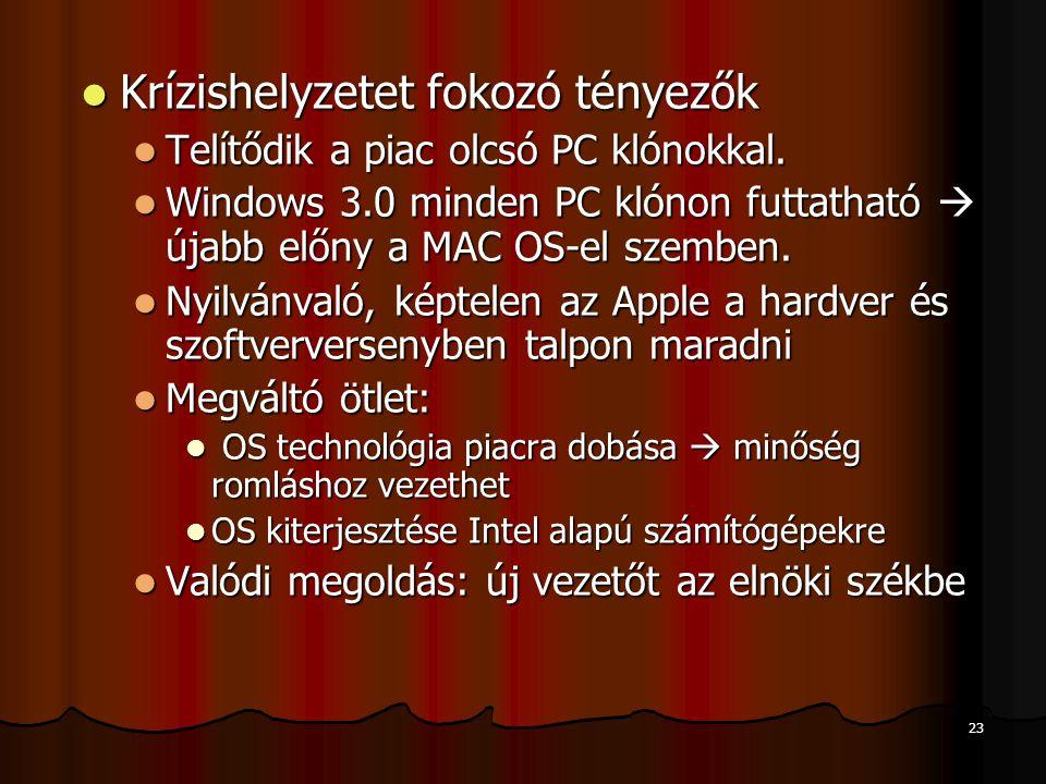 23 Krízishelyzetet fokozó tényezők Krízishelyzetet fokozó tényezők Telítődik a piac olcsó PC klónokkal. Telítődik a piac olcsó PC klónokkal. Windows 3