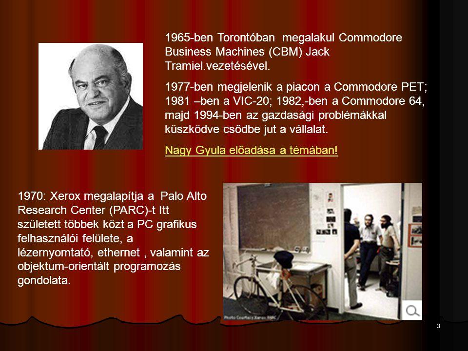3 1965-ben Torontóban megalakul Commodore Business Machines (CBM) Jack Tramiel.vezetésével.