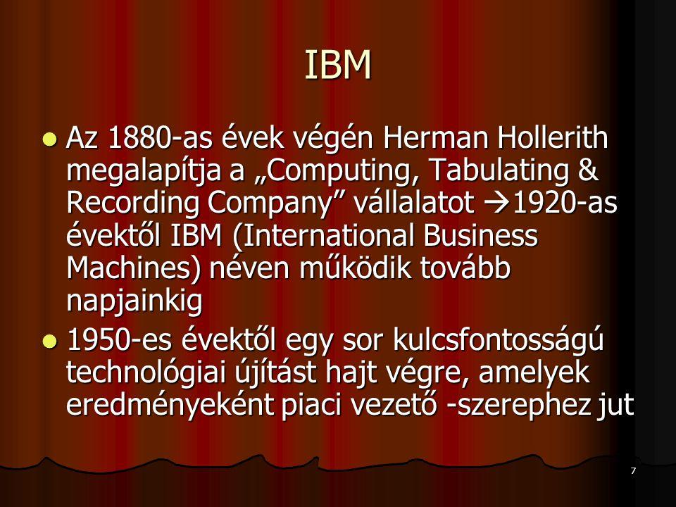 """7 IBM Az 1880-as évek végén Herman Hollerith megalapítja a """"Computing, Tabulating & Recording Company"""" vállalatot  1920-as évektől IBM (International"""