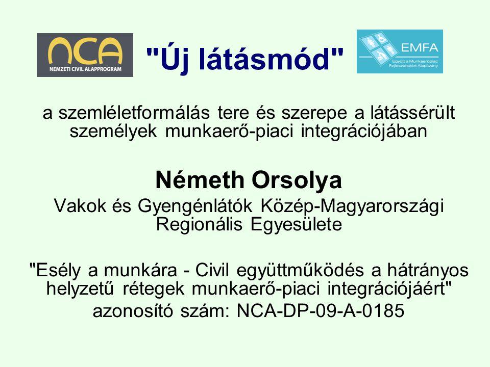 Új látásmód a szemléletformálás tere és szerepe a látássérült személyek munkaerő-piaci integrációjában Németh Orsolya Vakok és Gyengénlátók Közép-Magyarországi Regionális Egyesülete Esély a munkára - Civil együttműködés a hátrányos helyzetű rétegek munkaerő-piaci integrációjáért azonosító szám: NCA-DP-09-A-0185
