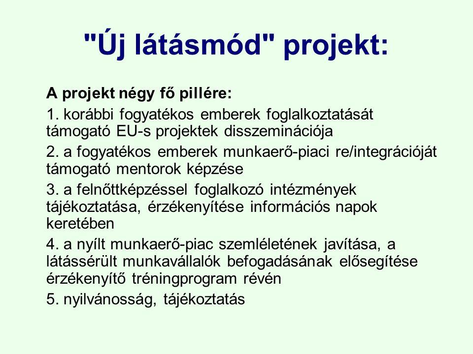 Új látásmód projekt: A projekt négy fő pillére: 1.