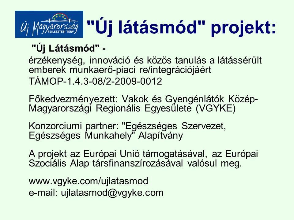 Új látásmód projekt: Új Látásmód - érzékenység, innováció és közös tanulás a látássérült emberek munkaerő-piaci re/integrációjáért TÁMOP-1.4.3-08/2-2009-0012 Főkedvezményezett: Vakok és Gyengénlátók Közép- Magyarországi Regionális Egyesülete (VGYKE) Konzorciumi partner: Egészséges Szervezet, Egészséges Munkahely Alapítvány A projekt az Európai Unió támogatásával, az Európai Szociális Alap társfinanszírozásával valósul meg.