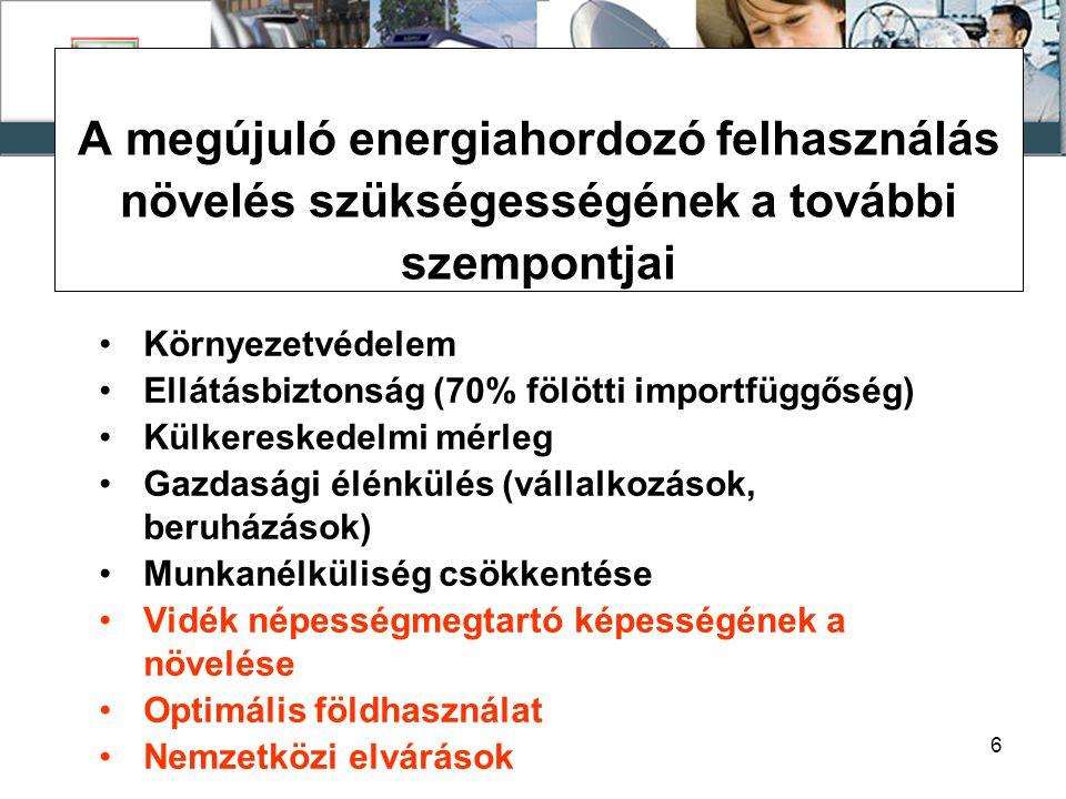 7 A MEGÚJULÓ ENERGIAHORDOZÓ FELHASZNÁLÁSRA IRÁNYULÓ TAGÁLLAMI ELVÁRÁSOK 2001/77/EK irányelv: 2010-re 22,1%-ra növelni a zöldáram részarányt.
