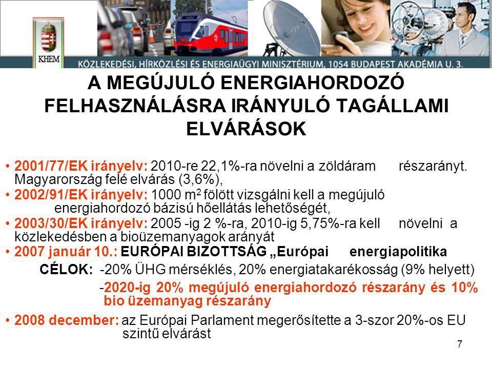 8 A GÁZELLÁTÁSI ZAVAROK HATÁSA Az Európai Parlament 2009 február 3-i állásfoglalása az energiapolitika felülvizsgálatáról Ellátásbiztonság: Nabuccó, Déli Áramlat, cseppfolyós gázbázisok,stratégiai gáztárolás, 10%-os rendszerek közötti összekötő kapacitás Importfüggőség mérséklése: energiatakarékosság (jogszabályok szerepe kiemelve, EU támogatások szorgalmazása, közlekedés vasútra és vízi útra terelése) Az EU saját forrásainak jobb kihasználása: kiemelve a megújuló energiahordozó felhasználás növelése (nap és szél hangsúlyozva) A nukleáris energia szerepének az újragondolása: konkrét EU beruházási menetrend javaslata, hangsúlyozva a radioaktiv hulladékok végleges ártalmatlanítását 2050-es távlat: 80%-os ÜHG mérséklés 35%-os energiatakarékosság 60%-os megújuló energiahordozó részarány