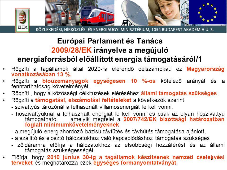 10 Európai Parlament és Tanács 2009/28/EK irányelve a megújuló energiaforrásból előállított energia támogatásáról/2 Lehetővé teszi hogy a más tagállamban felhasznált energiát – származási garancia mellett - a tagállam beszámítsa a saját felhasználásába Lehetővé teszi hogy a közösségen kívülről importált villamosenergiát – származási garancia mellett - a tagállam beszámítsa a saját felhasználásába Jelentési kötelezettséget ír elő 2011.december 31-ig, majd kétévente további előrehaladási jelentéseket, amelyek részletezik: - a statisztikai adatokat, az előző 2 évre vonatkozóan is, - a támogatási rendszereket és az egyéb intézkedések működését, - a származási garanciák rendszerét, - a biomassza használatában elért haladást, - valamint a nettó üvegházhatású gáz megtakarítást.