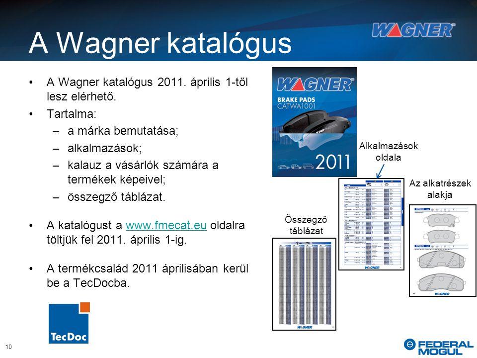 A Wagner katalógus A Wagner katalógus 2011. április 1-től lesz elérhető.
