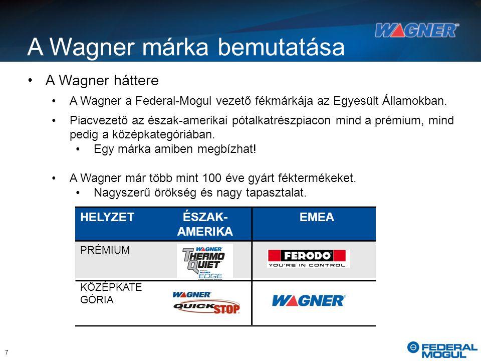 HELYZETÉSZAK- AMERIKA EMEA PRÉMIUM KÖZÉPKATE GÓRIA A Wagner háttere A Wagner a Federal-Mogul vezető fékmárkája az Egyesült Államokban.