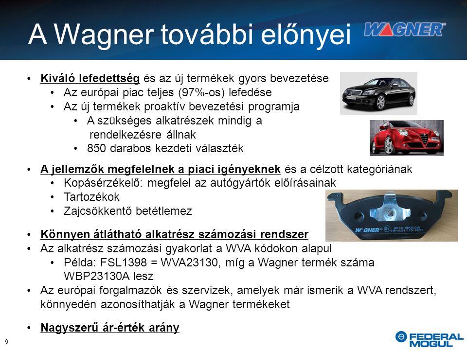 9 Kiváló lefedettség és az új termékek gyors bevezetése Az európai piac teljes (97%-os) lefedése Az új termékek proaktív bevezetési programja A szükséges alkatrészek mindig a rendelkezésre állnak 850 darabos kezdeti választék A jellemzők megfelelnek a piaci igényeknek és a célzott kategóriának Kopásérzékelő: megfelel az autógyártók előírásainak Tartozékok Zajcsökkentő betétlemez Könnyen átlátható alkatrész számozási rendszer Az alkatrész számozási gyakorlat a WVA kódokon alapul Példa: FSL1398 = WVA23130, míg a Wagner termék száma WBP23130A lesz Az európai forgalmazók és szervizek, amelyek már ismerik a WVA rendszert, könnyedén azonosíthatják a Wagner termékeket Nagyszerű ár-érték arány A Wagner további előnyei