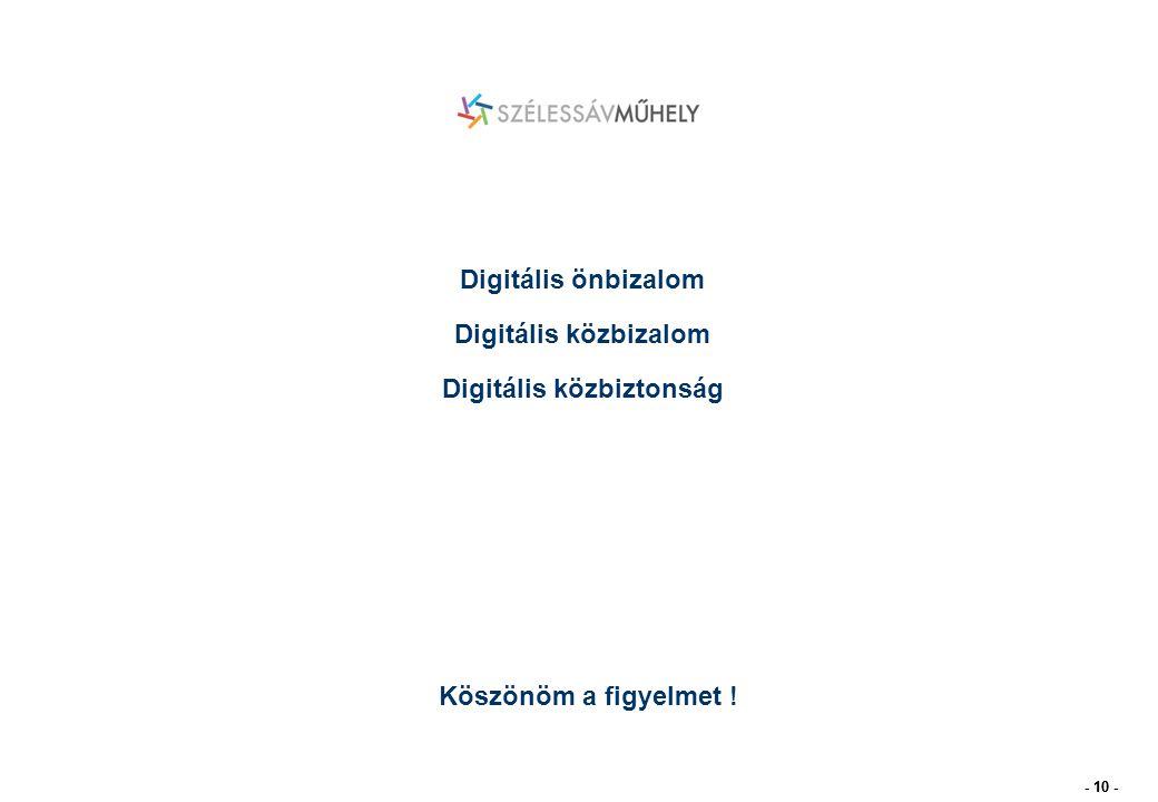 - 10 - Köszönöm a figyelmet ! Digitális önbizalom Digitális közbizalom Digitális közbiztonság