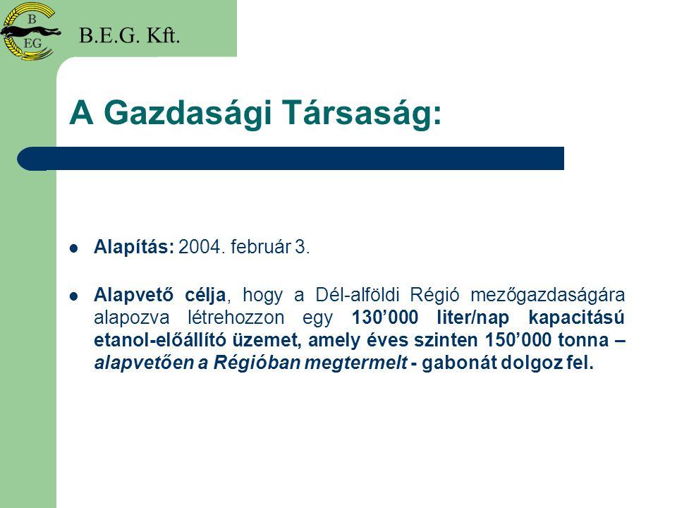 A Gazdasági Társaság: Alapítás: 2004. február 3. Alapvető célja, hogy a Dél-alföldi Régió mezőgazdaságára alapozva létrehozzon egy 130'000 liter/nap k