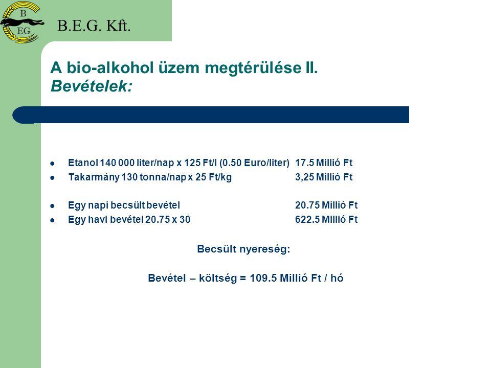 A bio-alkohol üzem megtérülése II. Bevételek: Etanol 140 000 liter/nap x 125 Ft/l (0.50 Euro/liter)17.5 Millió Ft Takarmány 130 tonna/nap x 25 Ft/kg3,