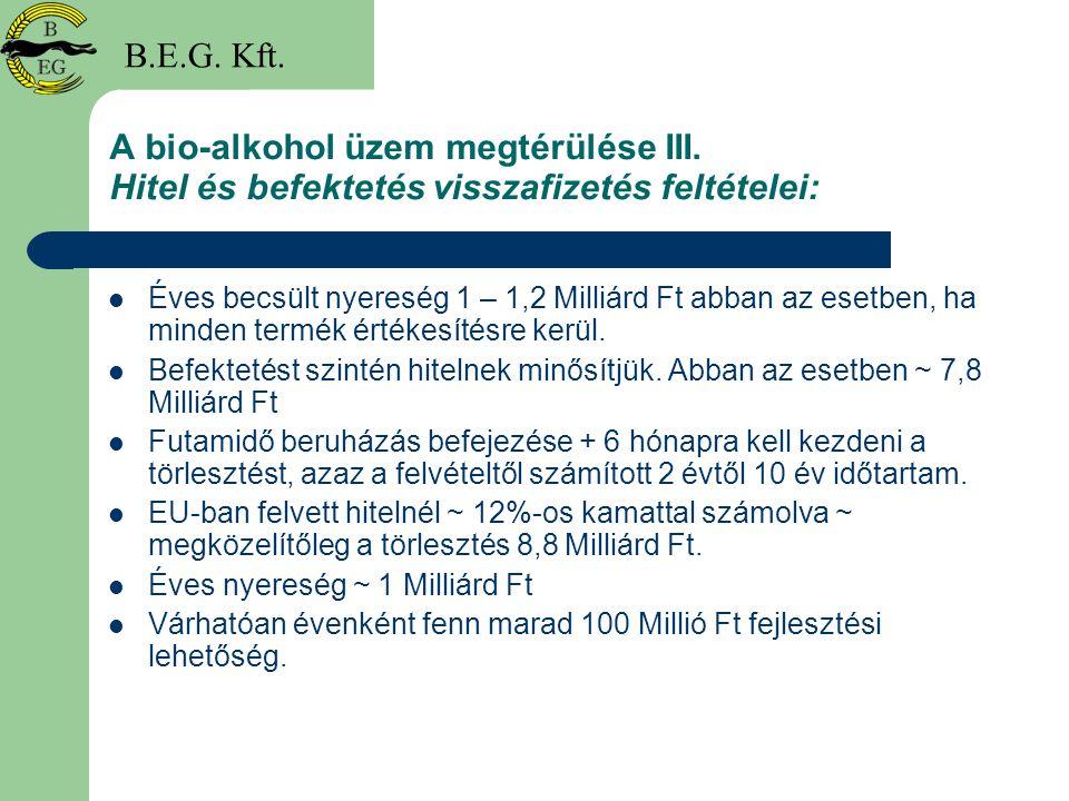 A bio-alkohol üzem megtérülése III. Hitel és befektetés visszafizetés feltételei: Éves becsült nyereség 1 – 1,2 Milliárd Ft abban az esetben, ha minde