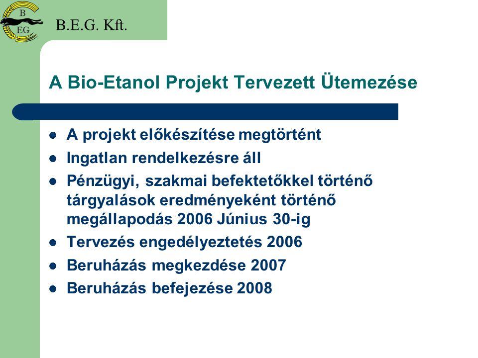 A Bio-Etanol Projekt Tervezett Ütemezése A projekt előkészítése megtörtént Ingatlan rendelkezésre áll Pénzügyi, szakmai befektetőkkel történő tárgyalá