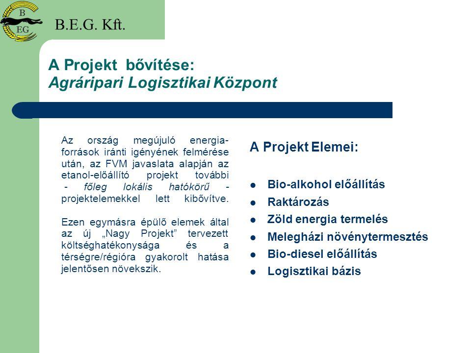 Agráripari Logisztikai Központ Megvalósításának Ütemezése Előzetes megvalósíthatósági tanulmány elkészítése 2005 November 30-ig Befektetők feltárása projektelemenként 2006-2007 Tervezés, engedélyeztetés 2006-2009 Beruházás megkezdése projektelemenként 2007-2011 Beruházás befejezése projektelemenként 2008-2012 Az Agrárlogisztikai Központ projekt teljes költségvetése (bio- etanol projekttel együtt) : 17 milliárd + áfa