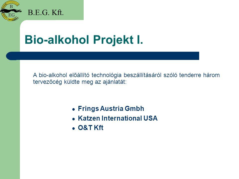 Bio-alkohol Projekt I. A bio-alkohol előállító technológia beszállításáról szóló tenderre három tervezőcég küldte meg az ajánlatát: Frings Austria Gmb