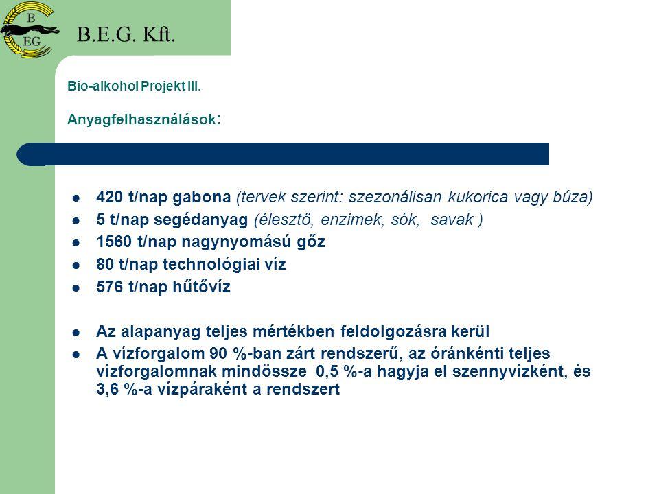 Bio-alkohol Projekt III. Anyagfelhasználások : 420 t/nap gabona (tervek szerint: szezonálisan kukorica vagy búza) 5 t/nap segédanyag (élesztő, enzimek