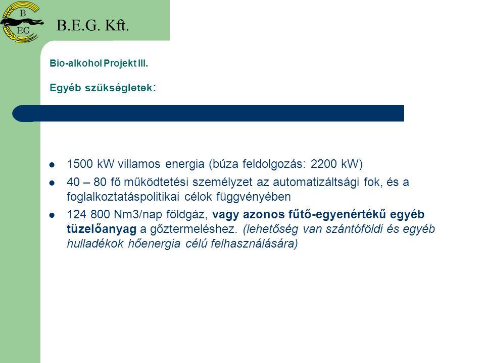 Bio-alkohol Projekt III. Egyéb szükségletek : 1500 kW villamos energia (búza feldolgozás: 2200 kW) 40 – 80 fő működtetési személyzet az automatizáltsá