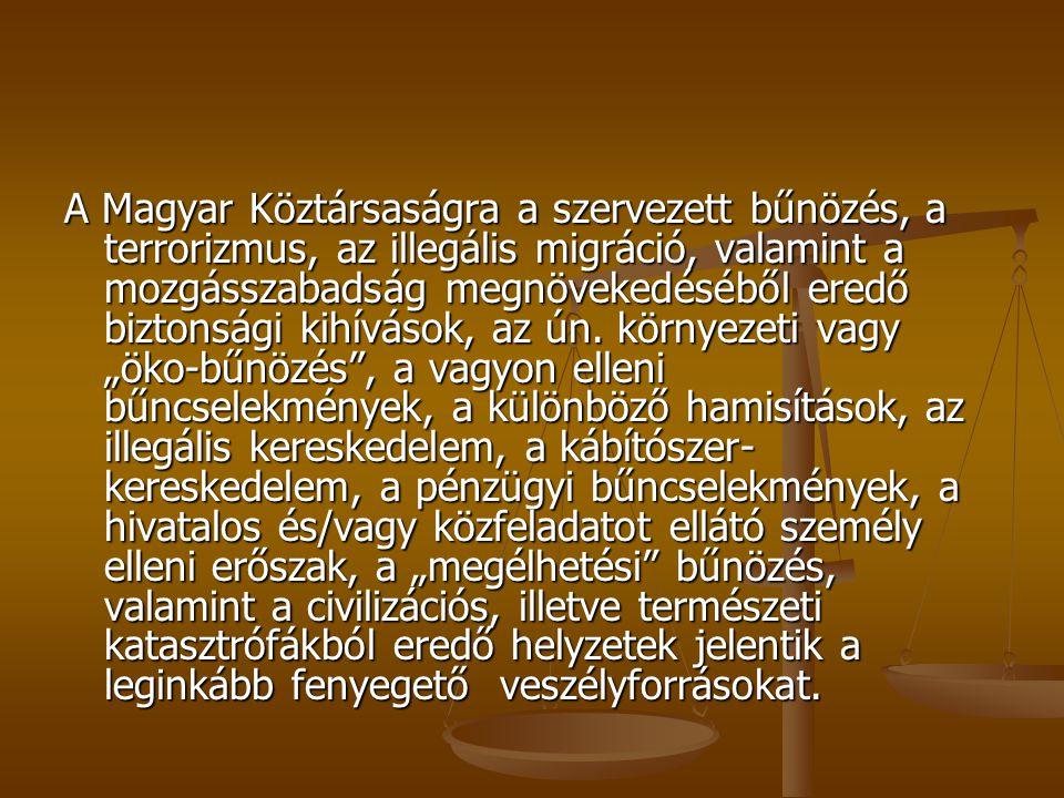 A Magyar Köztársaságra a szervezett bűnözés, a terrorizmus, az illegális migráció, valamint a mozgásszabadság megnövekedéséből eredő biztonsági kihívások, az ún.