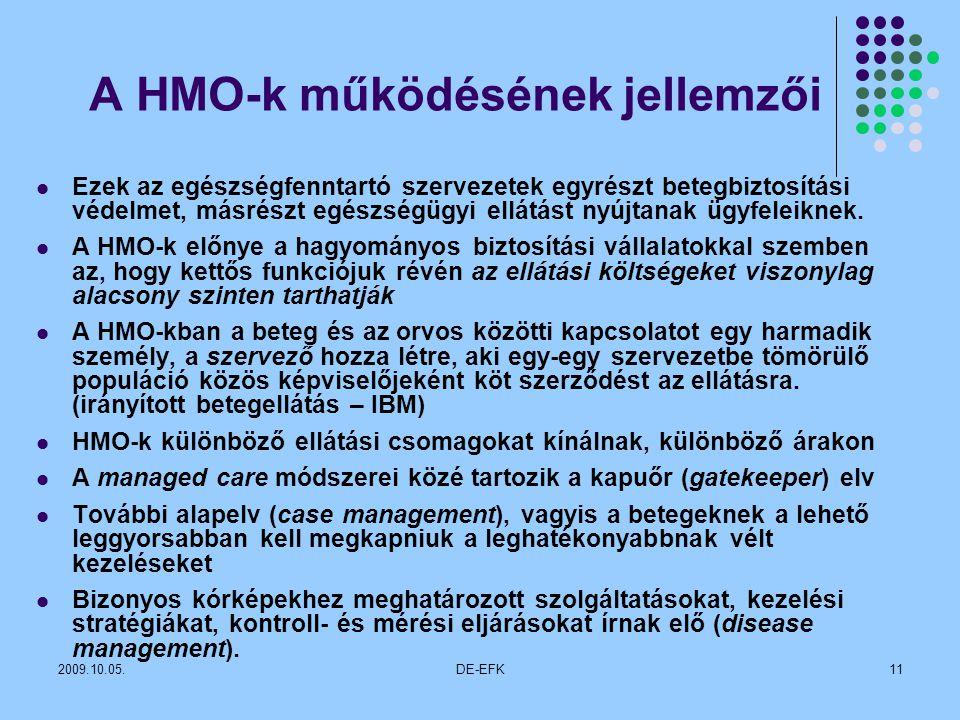 2009.10.05.DE-EFK11 A HMO-k működésének jellemzői Ezek az egészségfenntartó szervezetek egyrészt betegbiztosítási védelmet, másrészt egészségügyi ellátást nyújtanak ügyfeleiknek.
