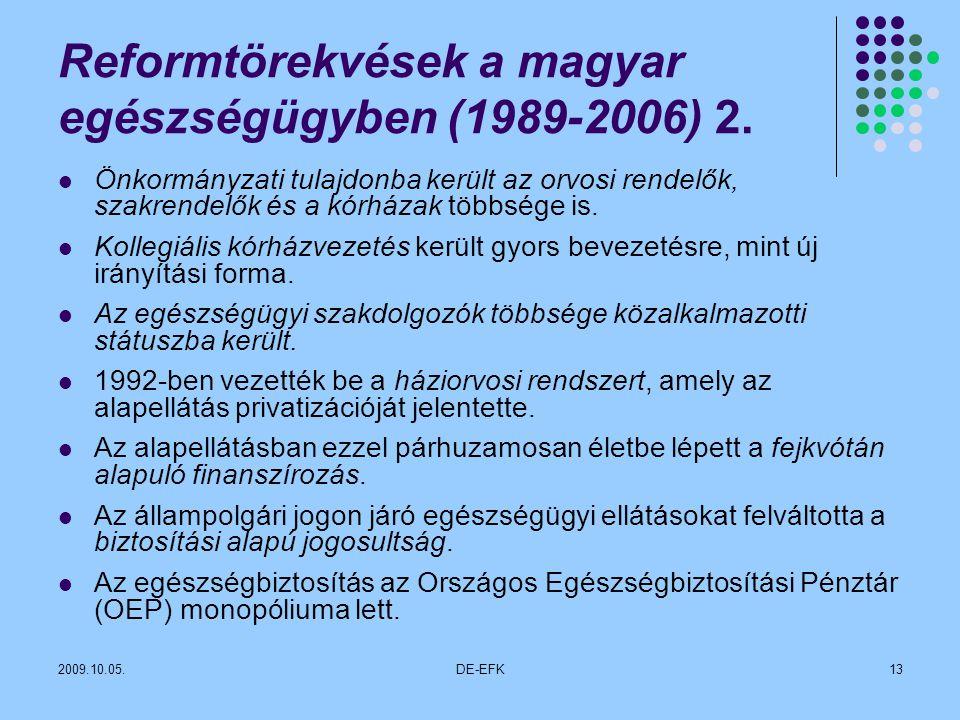 2009.10.05.DE-EFK13 Reformtörekvések a magyar egészségügyben (1989-2006) 2.