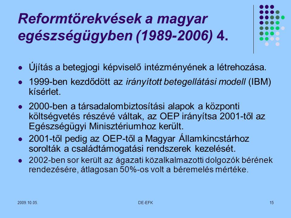 2009.10.05.DE-EFK15 Reformtörekvések a magyar egészségügyben (1989-2006) 4.