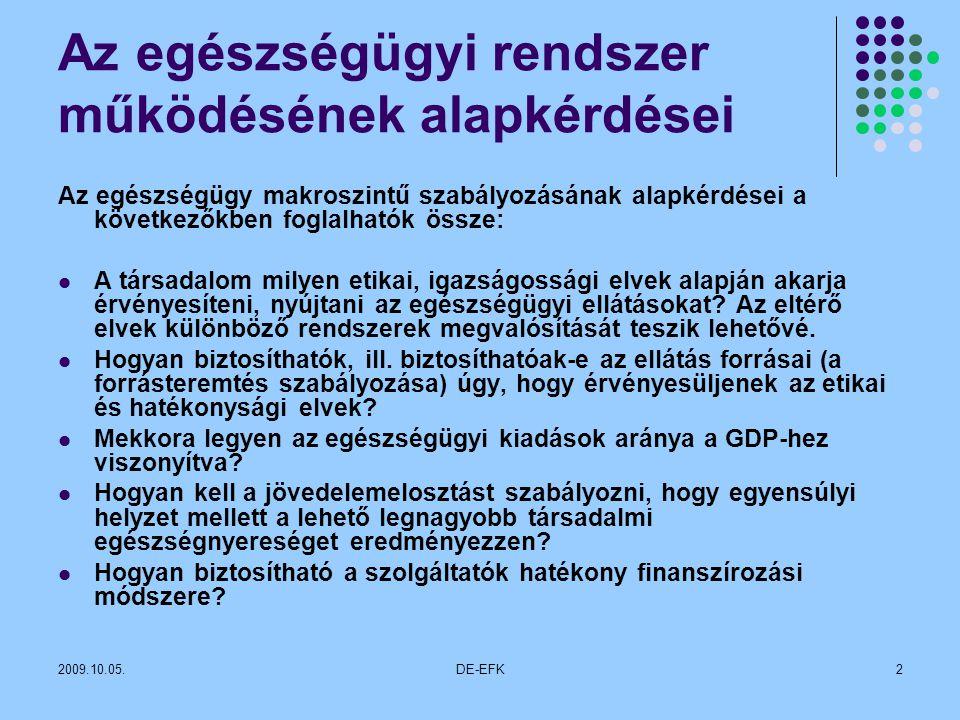 2009.10.05.DE-EFK2 Az egészségügyi rendszer működésének alapkérdései Az egészségügy makroszintű szabályozásának alapkérdései a következőkben foglalhatók össze: A társadalom milyen etikai, igazságossági elvek alapján akarja érvényesíteni, nyújtani az egészségügyi ellátásokat.