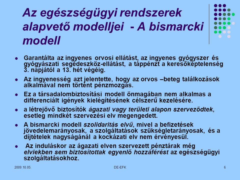 2009.10.05.DE-EFK6 Az egészségügyi rendszerek alapvető modelljei - A bismarcki modell Garantálta az ingyenes orvosi ellátást, az ingyenes gyógyszer és gyógyászati segédeszköz-ellátást, a táppénzt a keresőképtelenség 3.