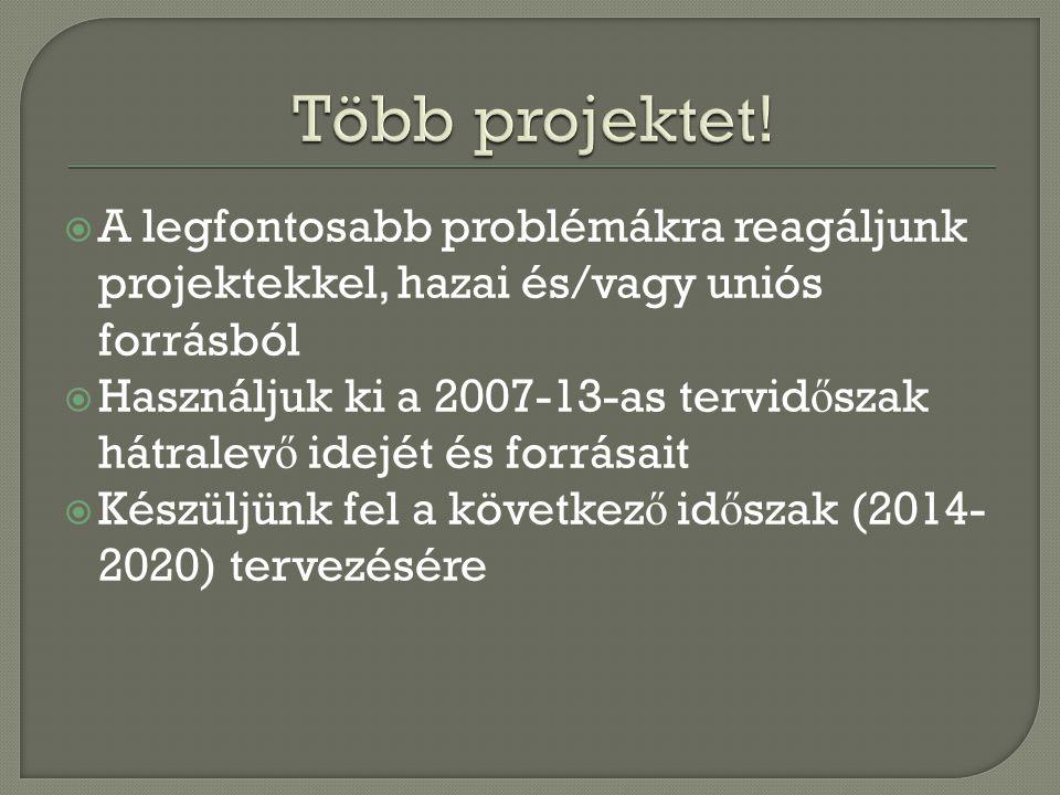  A legfontosabb problémákra reagáljunk projektekkel, hazai és/vagy uniós forrásból  Használjuk ki a 2007-13-as tervid ő szak hátralev ő idejét és fo