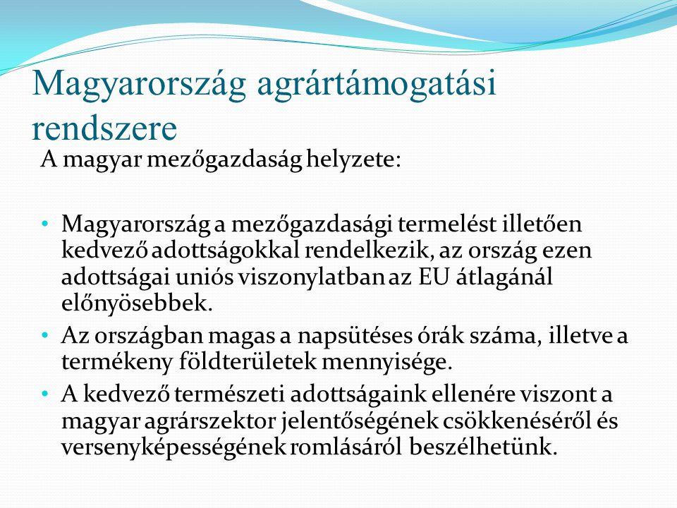 Magyarország agrártámogatási rendszere A magyar mezőgazdaság helyzete: Magyarország a mezőgazdasági termelést illetően kedvező adottságokkal rendelkez