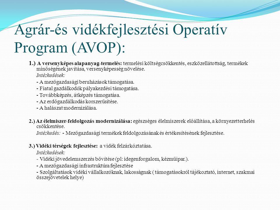 Agrár-és vidékfejlesztési Operatív Program (AVOP): 1.) A versenyképes alapanyag-termelés: termelési költségcsökkentés, eszközellátottság, termékek min