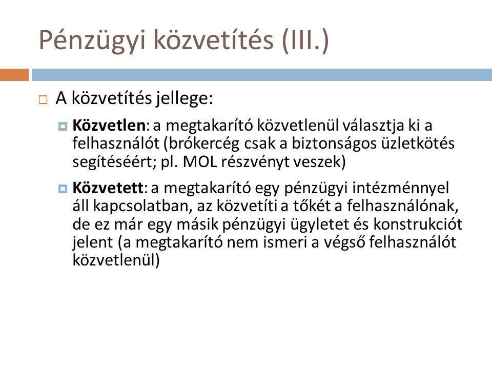 Pénzügyi közvetítés (III.)  A közvetítés jellege:  Közvetlen: a megtakarító közvetlenül választja ki a felhasználót (brókercég csak a biztonságos üz