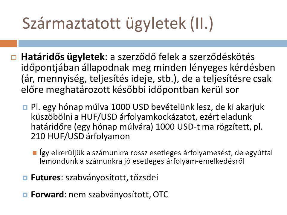 Származtatott ügyletek (II.)  Határidős ügyletek: a szerződő felek a szerződéskötés időpontjában állapodnak meg minden lényeges kérdésben (ár, mennyiség, teljesítés ideje, stb.), de a teljesítésre csak előre meghatározott későbbi időpontban kerül sor  Pl.