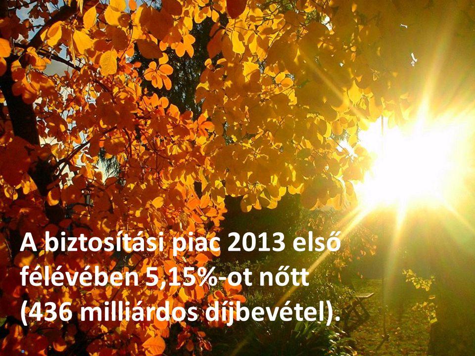 2 A biztosítási piac 2013 első félévében 5,15%-ot nőtt (436 milliárdos díjbevétel)..