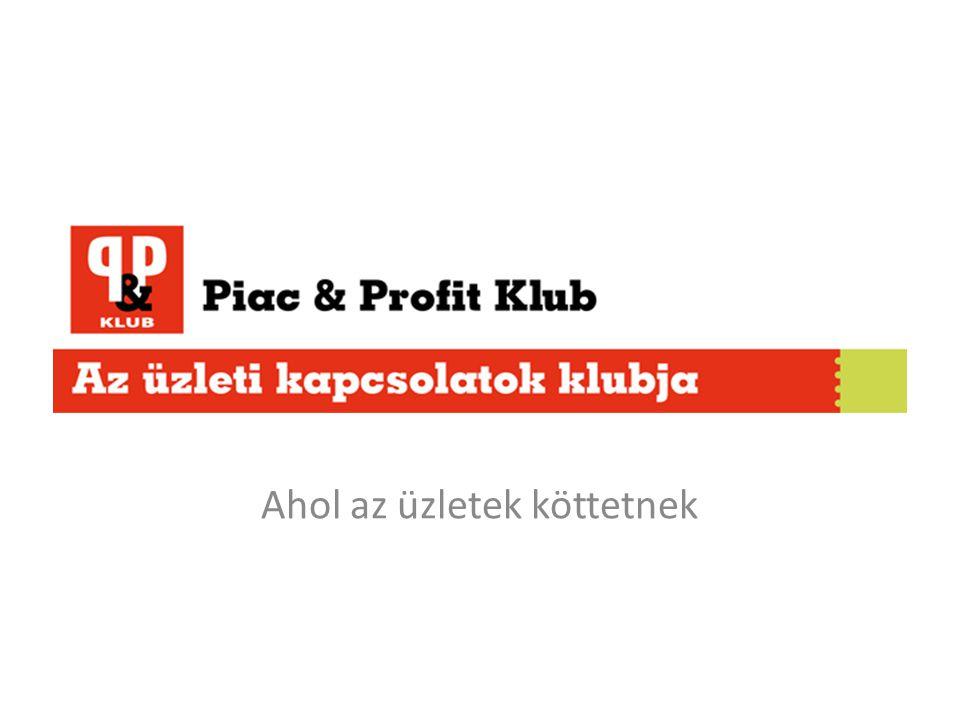 A PP Klub célja A Piac & Profit elindítja a Piac & Profit Klubot, mely elsősorban a kkv-k üzleti kapcsolatainak építésére hivatott Egy év alatt 12 rendezvényen, mintegy 300 üzleti partnerrel ismertetheti meg személyesen üzleti vállalkozását Kapcsolatépítés, önmaguk, szolgáltatásaik, termékeik megismertetése, s ezáltal hosszú távú üzleti partneri viszony kialakítása