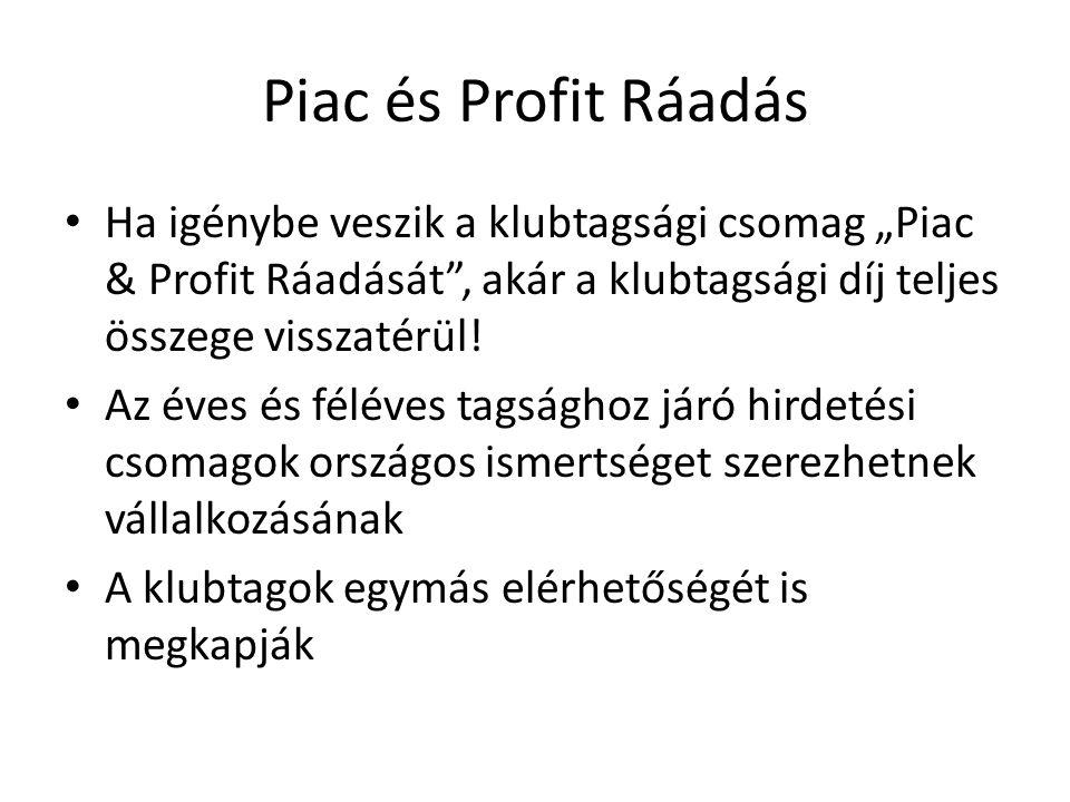 """Piac és Profit Ráadás Ha igénybe veszik a klubtagsági csomag """"Piac & Profit Ráadását , akár a klubtagsági díj teljes összege visszatérül."""