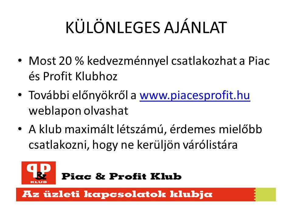 KÜLÖNLEGES AJÁNLAT Most 20 % kedvezménnyel csatlakozhat a Piac és Profit Klubhoz További előnyökről a www.piacesprofit.hu weblapon olvashatwww.piacesprofit.hu A klub maximált létszámú, érdemes mielőbb csatlakozni, hogy ne kerüljön várólistára