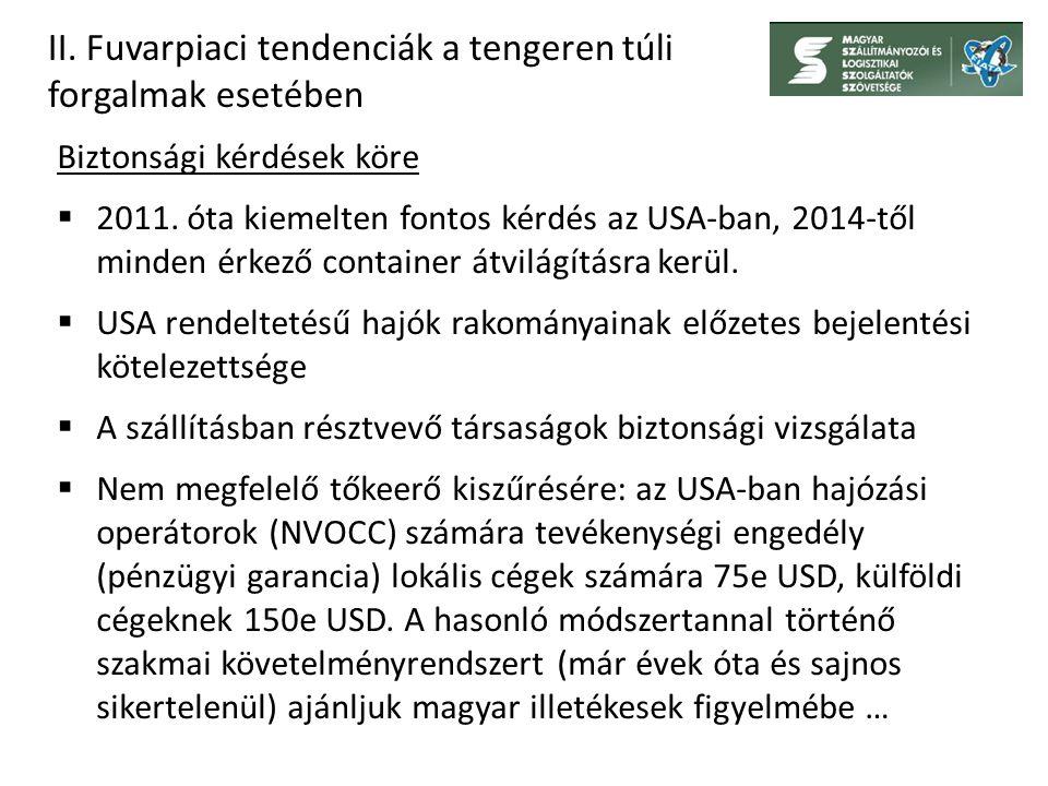 II. Fuvarpiaci tendenciák a tengeren túli forgalmak esetében Biztonsági kérdések köre  2011.