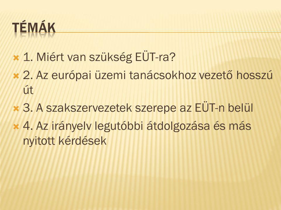  1. Miért van szükség EÜT-ra.  2. Az európai üzemi tanácsokhoz vezető hosszú út  3.