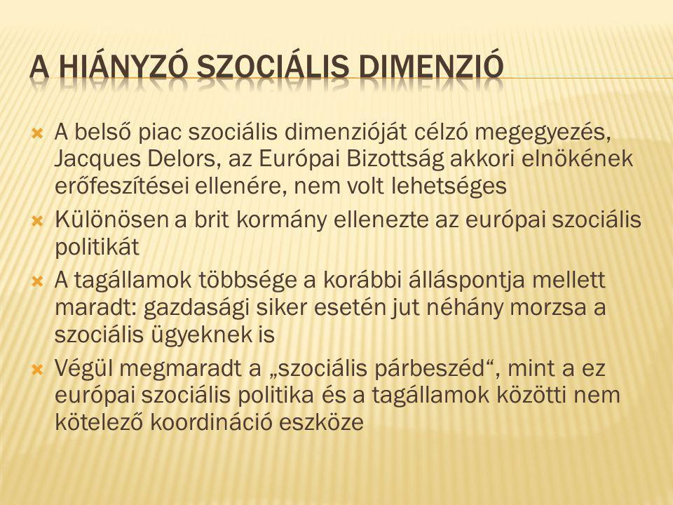 """ A belső piac szociális dimenzióját célzó megegyezés, Jacques Delors, az Európai Bizottság akkori elnökének erőfeszítései ellenére, nem volt lehetséges  Különösen a brit kormány ellenezte az európai szociális politikát  A tagállamok többsége a korábbi álláspontja mellett maradt: gazdasági siker esetén jut néhány morzsa a szociális ügyeknek is  Végül megmaradt a """"szociális párbeszéd , mint a ez európai szociális politika és a tagállamok közötti nem kötelező koordináció eszköze"""