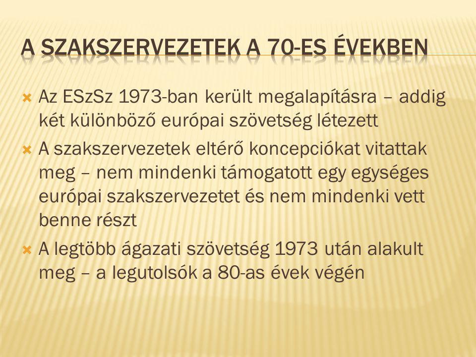 Az ESzSz 1973-ban került megalapításra – addig két különböző európai szövetség létezett  A szakszervezetek eltérő koncepciókat vitattak meg – nem mindenki támogatott egy egységes európai szakszervezetet és nem mindenki vett benne részt  A legtöbb ágazati szövetség 1973 után alakult meg – a legutolsók a 80-as évek végén